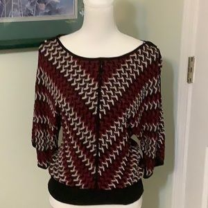 🦋WHBM Red, black knit top, size Medium